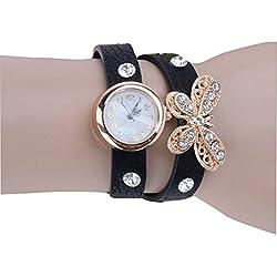 PromiseU Fashion Women Retro Synthetic Leather Strap Watch Butterfly Rivet Bracelet Wristwatch-Black