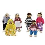 KEESIN Poseable Hölzerne Puppe Mini Menschen Figuren Familie Vorgeben Spielen Spielzeug für Puppenhaus 6 Stück