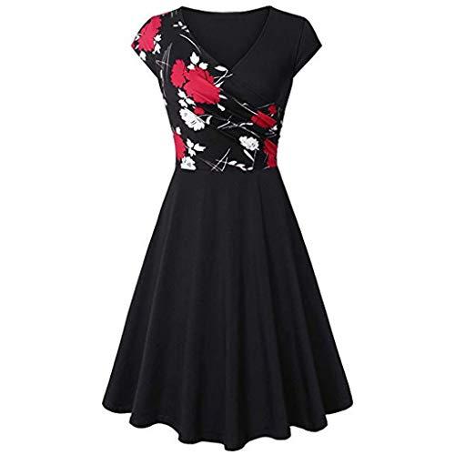 IMJONO Rock Dress,2019 Jubiläumsfeier Kurzärmliges Kleid mit V-Ausschnitt für Frauen Elegantes Ausgestelltes Kleid mit A-Linie(XX-Large,Rot) (Passt Twenties Roaring)
