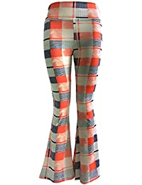 Pantaloni Donna Eleganti Vita Alta Pantaloni A Zampa Elasticizzato Flare  Pantaloni Lunghi Pantalone Elegante Vintage Hip Hop Stampato… 709508f1b7c8