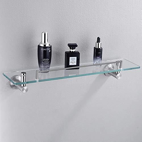 Badezimmer-Regale aus dickem Glas mit Stange, Chrom-Finish, komplett mit Wandbefestigungen