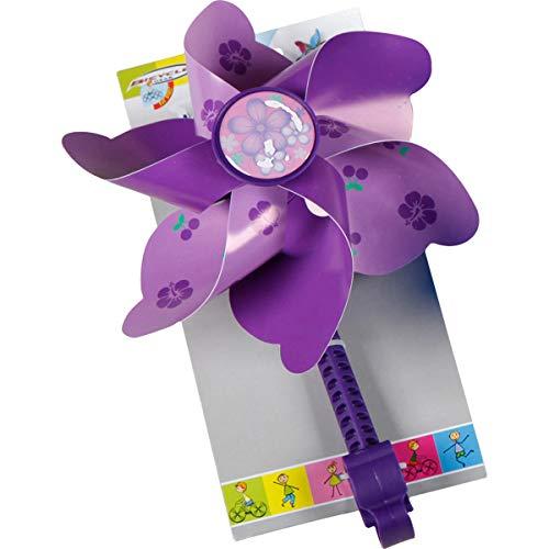 Fahrradwindmühle für Kinder - passend auch für Roller, Dreirad, Laufrad - Fahrrad Windrad Windmühle Deko Zubehör lila -