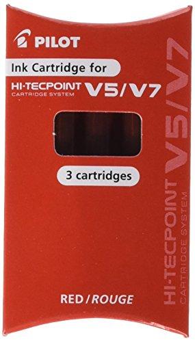 Pilot 232471 - Ricambio per penne V5 rosso - Confezione da 3 cartucce, red refill ink (3pcs)