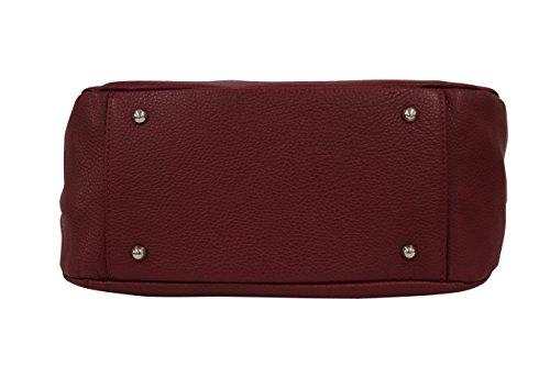 AMBRA Moda Damen echt Ledertasche Handtasche Schultertasche Beutel Shopper Umhängtasche GL002 Viele Farben Dunkelrot