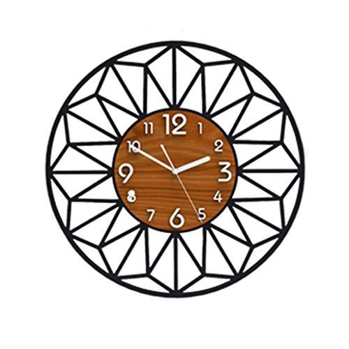 Gaoli orologio da parete, salotto moderno minimalista pannelli murali famiglia stile cinese nero muto rotonda orologio-black, 48 * 48 * 1.8cm-