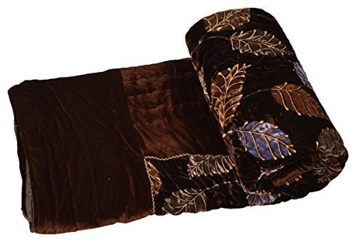 Jaipuri Velvet razai Dark Brown golden printed Beautiful double bed Jaipuri Quilt...