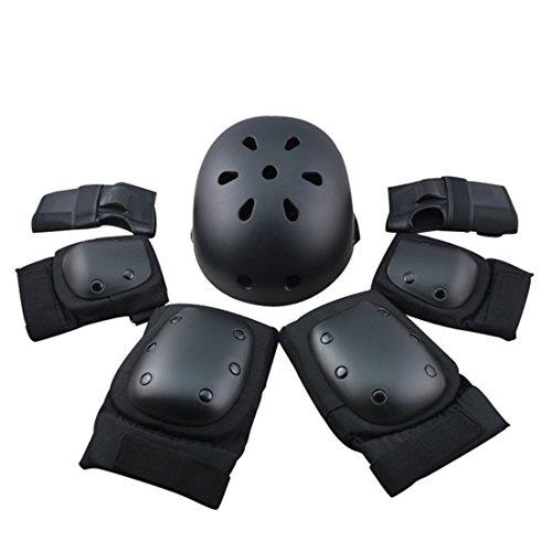 YVSoo 7er Schutz-Set Helm, Knieschutz, Handgelenksschutz, Ellbogenschutz Set für Eislaufen, Skateboard, Fahrrad, Longboard, Roller Derby, Streetboard und Roller