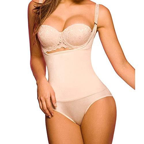IZHH Dessous Damen Seamless Firm Control Shapewear Body Body Shaper Verstellbarer Schultergurt Körper Korsett Korsett(Beige,M)
