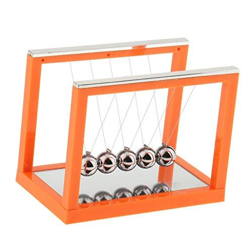 Homyl Hochwertige Kugelspiel Kugelpendel Newtonpendel Balance Bälle, Geschenk für Freunde und Familie - Orange