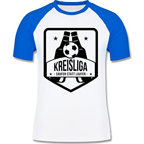 Shirtracer Fußball - Kreisliga - Saufen Statt Laufen - Herren Baseball Shirt Weiß/Royalblau