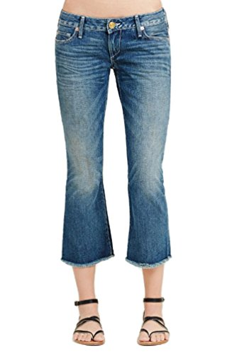 True Religion Women's Karlie Low Rise Bell Bottom Cropped Flare Jeans