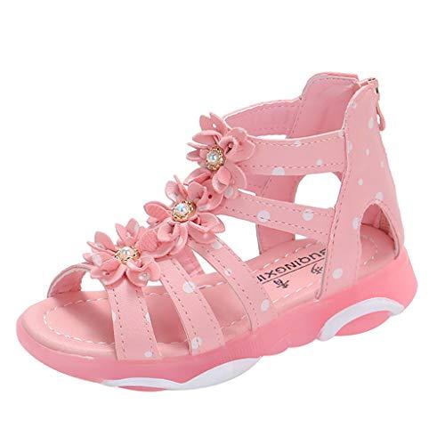 feiXIANG Kinder Schuhe Freizeitschuhe Sandalen Anti-Rutsch Kleinkind Baby Polka Dot Strass Peep Toe Princessschuhe (Rosa,26) Rosa Peep Toe