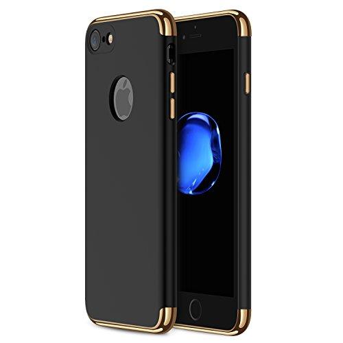 Funda iPhone 7, RANVOO 3 en 1 Anti-Scratch Anti-huella dactilar a prueba de choque Marco Electroplate con superficie antideslizante cubierta Excelente agarre el caso para el iPhone 7, Negro mate [logo out]