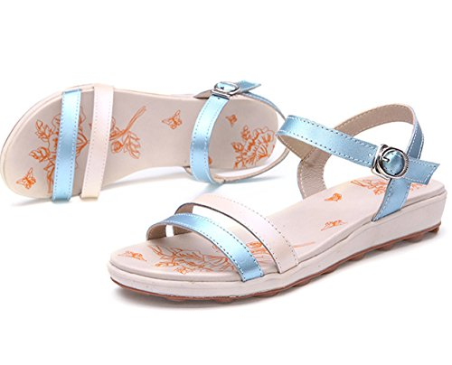 Moderne Sommer Damen Flach Gummi Sohle Anti Rutsch Slip On Einfache Ganze Oberflach Weiche Sohle Gummi Anti Rutsch Strandschuhe Sandalen Blau