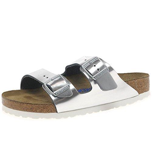 Geprägtes Leder Sandalen (BIRKENSTOCK Damen Arizona SFB Naturleder Weichbettung Schmal Sandale)