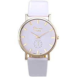 Zolimx Womens Fashion Roman PU Leather Band Analog Quartz Wrist Watch White