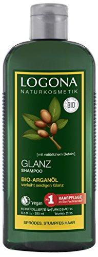 LOGONA Naturkosmetik Glanz Shampoo Bio-Arganöl, Mit natürlicher Glanz-Formel, Besonders schonende Reinigung, Optimiert die Haarstruktur, Mit Bio-Pflanzenextrakten, 250ml