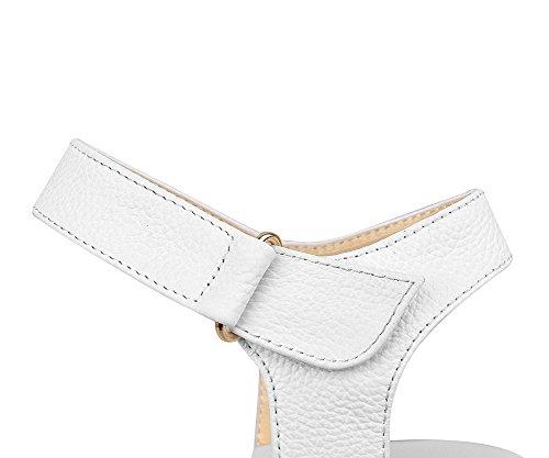 AgooLar Femme Velcro à Talon Bas Cuir de Bœuf Couleur Unie Ouverture D'Orteil Sandales à Coin Blanc