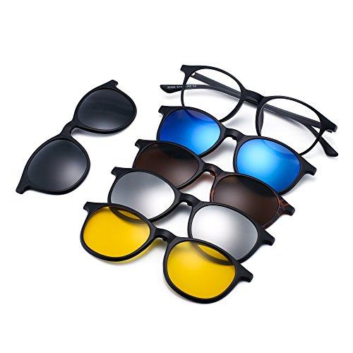 JIM HALO Magnetisch 5Pcs Polarisiert Clip auf Sonnenbrille Rund Plastik Rahmen für Nacht fahrten 2245A