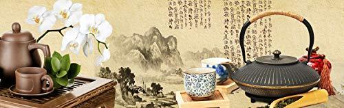 wandmotiv24 Küchenrückwand Tee Asiatisch Kirschblüte Holz Pergament Nischenrückwand Spritzschutz Design M1145 160 x 50cm (B x H) - Hartschaum 3mm Rückwand Küche Fotorückwand Küchenbild Bild Foto Motiv -