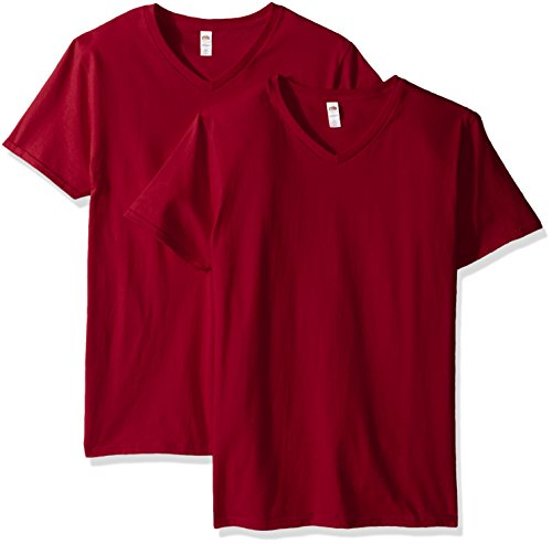 Fruit of the Loom Herren T-Shirt mit V-Ausschnitt, 2er Pack - Rot - 3X-Groß