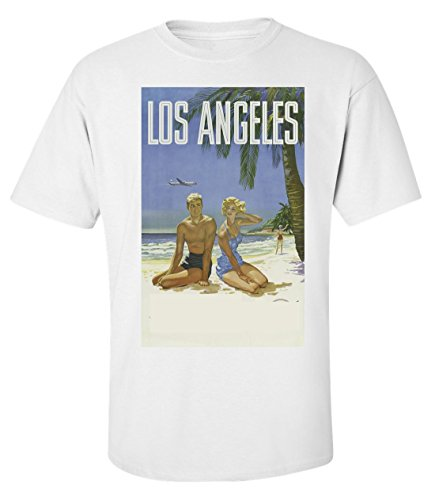 Santa monica beach Los angeles vintage poster logo Men's T shirt