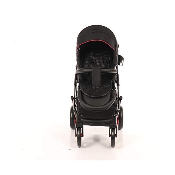 Baby PRAM Pushchair Set JUNAMA Diamond S-LINE BABYWAGEN Buggy BABYSCHALE + ZUBEHÖR (01 Rot-Schwarz, 3in1) JUNAMA Lockable swivel wheels Light alluminium chassis 2 separate modules - baby tub, sport seat 5