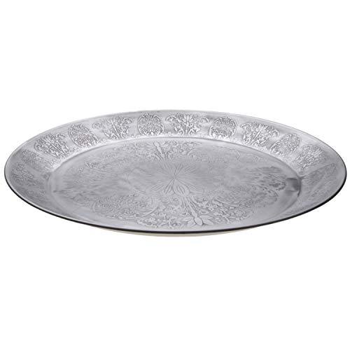 Orientalisches rundes Tablett aus Metall Suad 50cm | Marokkanisches Teetablett in der Farbe Silber | Orient Silbertablett silberfarbig | Orientalische Dekoration auf dem gedeckten Tisch -