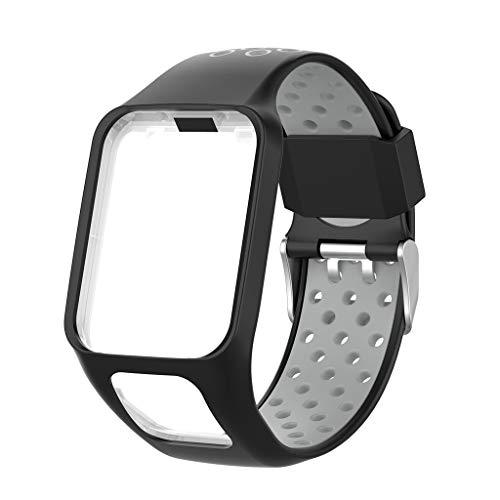 Für Tomtom Adventurer / Golfer2/Runner 3 Watch Armband MuSheng Sport Silikon Ersatzarmband Bracelet Strap Damen Herren Wristband für Tomtom Adventurer / Golfer2/Runner 3 Watch (G)