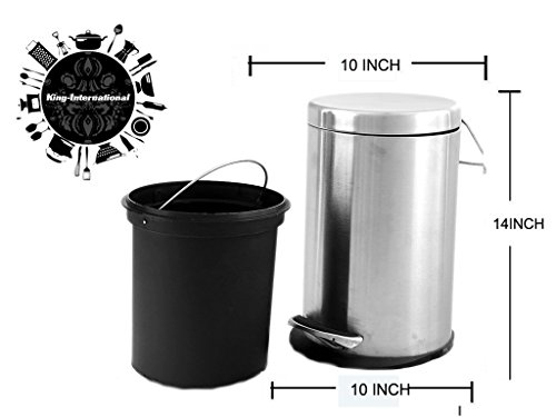 King International 100% Stainless Steel Plain Pedal Dustbin With Plastic Bucket, 11 Litre