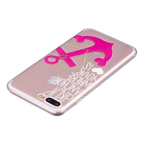 Coque iPhone 7 Plus, Étui iPhone 7 Plus, iPhone 7 Plus Case, ikasus® Coque iPhone 7 Plus Housse En relief Couleur peinte Transparent TPU Silicone Étui Housse Téléphone Couverture TPU Ultra Mince Premi Ancre rose
