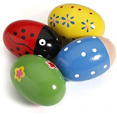 Tinksky Uovo di legno Maracas Shakers musica percussioni giocattolo per bambini 4 pezzi (colore casuale)