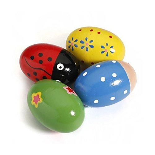 OULII 4-Holz-Eier-Maracas Percussion-Prassel, Musik für Kinder (zufällige Farbe)