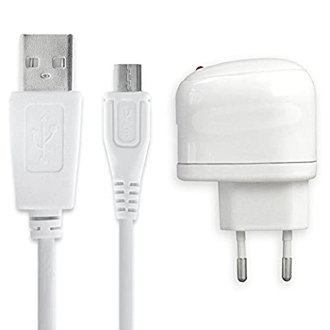 subtel® Qualitäts Ladekabel - 1m (1A) für CUBOT Note S / Max / Dinosaur / Rainbow / X17 / X16S / X12 / X9 / Cheetah Phone (5V / Micro USB) Ladegerät Netzteil Charger weiß