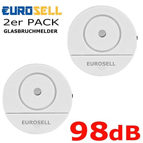 Eurosell Fenster Glasbruch Alarm Sensor + Sirene - Einbruch Diebstahl Schutz