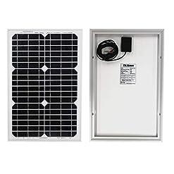 Pannello Solare Portatile 20W 12V con Cavo per Camper, Barca, Carica Batteria 12V Auto – Monocristallino di PK Green