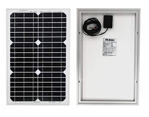 PK Green Solarpanel 20W 12V + Kabel - Solarmodul Monokristallin für Camping, Autobatterie, 12V...