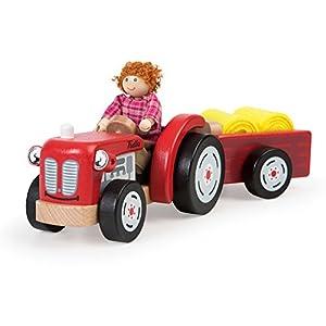 Bigjigs Toys T0502 - Tractor de Madera y Remolque con heno
