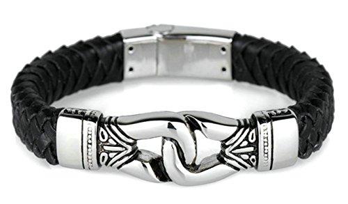 Beydodo Herren Armband Edelstahl Lederarmband Kordelarmband Silber Schwarz Armbänder Freundschaftsarmband22.5CM