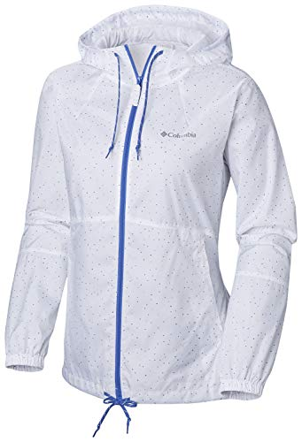 Columbia Wasserdichter Windbreaker für Damen, FLASH FORWARD PRINTED, Polyester, Weiß (White Dots Print), Gr. M, 1610911 - Columbia Steigen
