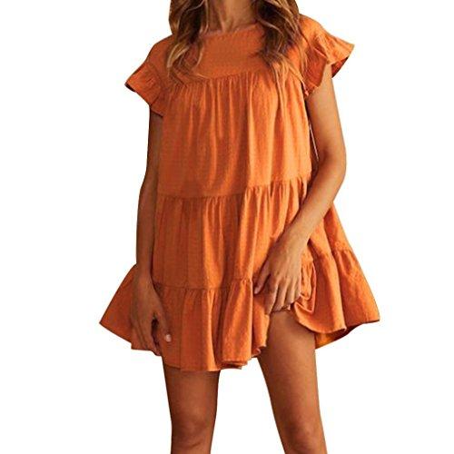 hen Abendkleid ❤ Frau Mode Minikleid Sommer Rundhalsausschnitt Kurzarm Rüschen StandKleid Patchwork Bodycon Beiläufige Abend Partykleid (Orange, S) ()