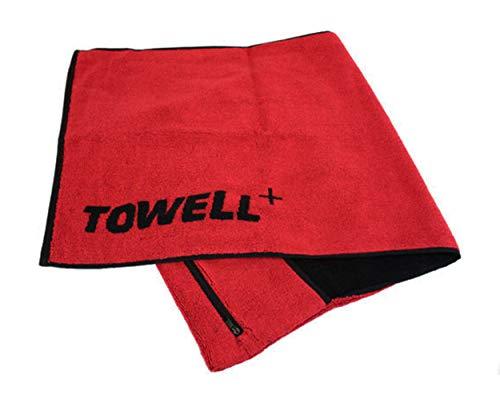 Towell SPORTHANDTUCH 40x90cm mit Tasche Rot Grün Baumwolle Fitness Handtuch Tuch (Rot)