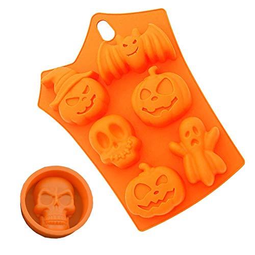 Silikon-Form für Halloween, BPA-frei, Fledermaus, Kürbisgesicht, Totenkopf, Ghost Form, Fondant, Kuchen, Pudding, Schokolade, Gelee, Eiswürfel, hitzebeständig, lustige Cupcakes, Kekse, Seife, Formen