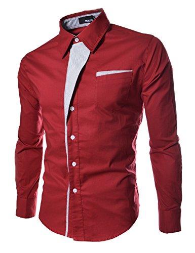 Honghu Slim Fit Básica de Manga Larga Cuello Clásico de la Camisa Formal para Hombre Tamaño M Rojo