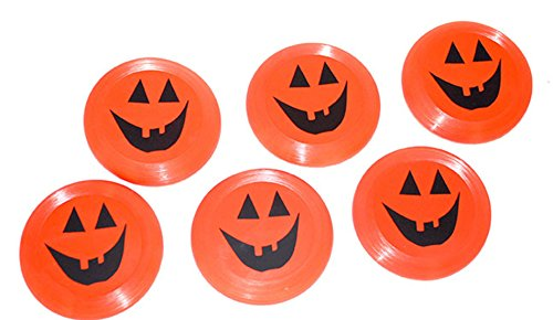 erdbeerparty- Motto-Party Halloween Kürbis Mini-Frisbees, 6 Stück, 9 cm, Orange