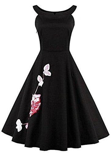 Brinny Robe de soirée/Cocktail Courte Licou Rétro Vintage année 1950 sans Manches , Style Audrey Hepburn Rockabilly Swing Fleur