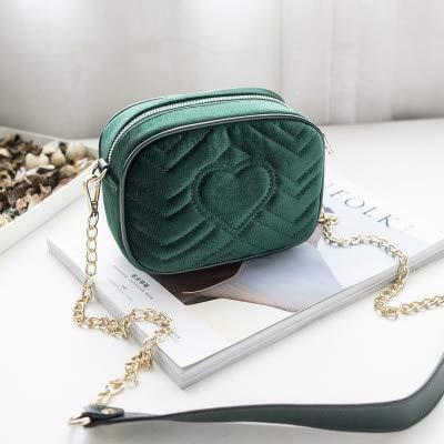 Romantic-Z Gitter samt umhängetasche Messenger Bags Frauen Elegante Lange Kette umhängetasche weibliche Tote Vintage Handtasche Bolsa, grün - Samt Gitter