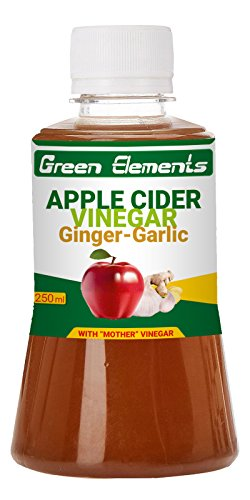 Green Elements - Apple Cider Vinegar & Ginger-Garlic (Raw, Unprocessed and Unrefined) with Mother Vinegar, 250ml  available at amazon for Rs.179