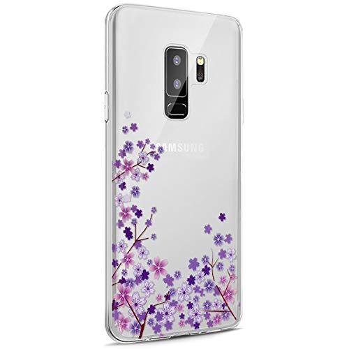 Surakey Galaxy S9 Plus Funda, Funda Transparente Suave TPU Gel Ultra Fina Protección A Bordes Y Cámara Silicona Bumper Crystal Móvil Ultrafina Funda para Samsung Galaxy S9 Plus,Flor de Cerezo Morada