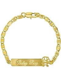 "18k Gold Plated Tag ID Identification Bracelet for Toddler Boy Children 6"""